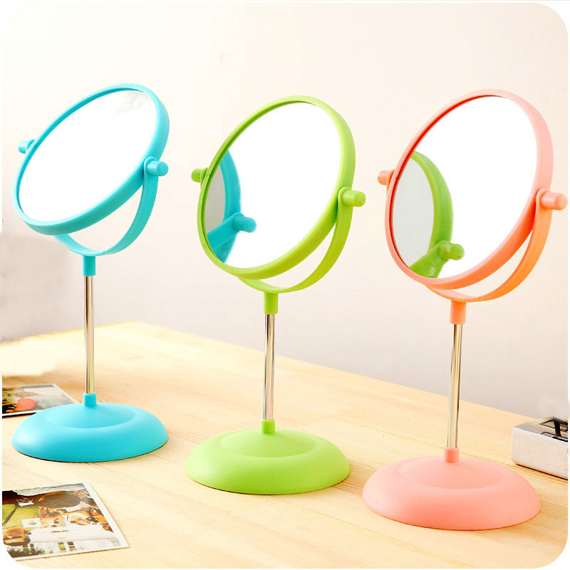 Makeup Mirror Girls 2Side Comestic Rotating Stand Table Mirrors Ladies Plastic Dresser Mirrors Women H194