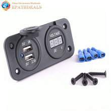 12 В LED Dual USB 2 Порт Автомобильное Зарядное Устройство Адаптер Питания Цифровой Вольтметр Гнездо Прикуривателя Splitter для Авто Мотоцикл лодка