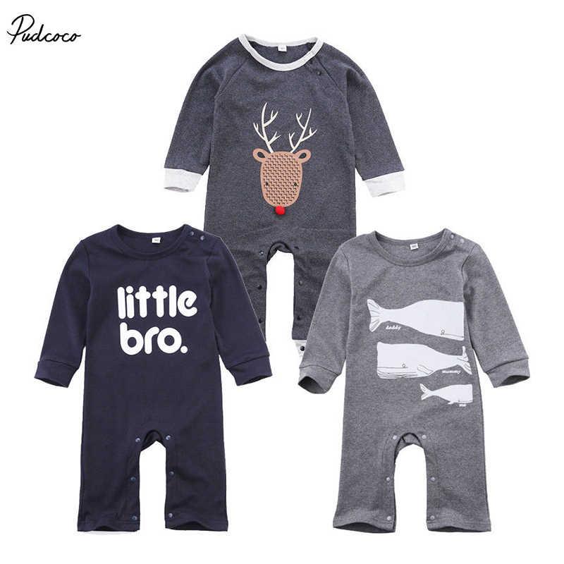 409f8005fb95 Newborn Kids Romper Infant Kids Baby Boy Girl Little Bro printed Outfits  Jumpsuit cotton Clothes Autumn