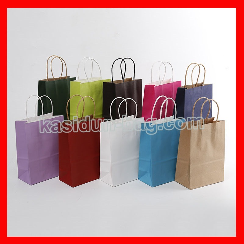 (100pcs/lot) custom logo gift paper bags with handles