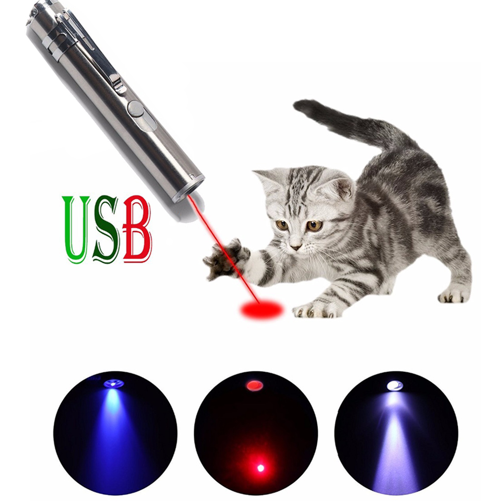 Mini USB Red Laser Pointer Rechargeable 3 In 1 Pen Flashlight / Laser/ UV Torch Hunting Cat Chaser Toys
