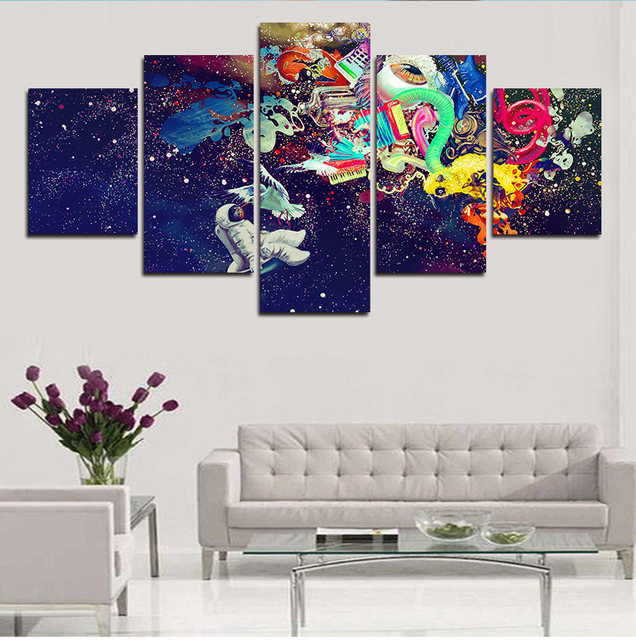 Abstract colorful star sky five panel canvas painting for home ...