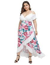 цены Large Size Women Dress Elegant Floral Print Butterfly Sleeve Ladies Maxi Dress Plus Size Female Ruffles Summer Long Dresses D30