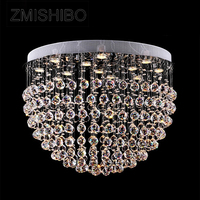 ZMISHIBO 110 V/220 V Кристалл Потолочный подвесной светильник Европейский Стиль мяч Диаметр 80 см GU10 разъем 13 лампы поверхностного монтажа освещения