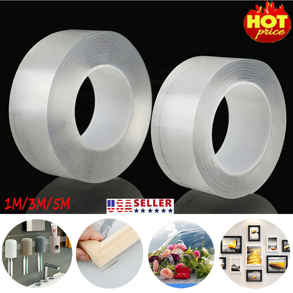 Reusable Home Washable Removable DIY Office Smooth Adhesive Tape Invisible Gel Strongly Sticky Double-sided Traceless Fixing