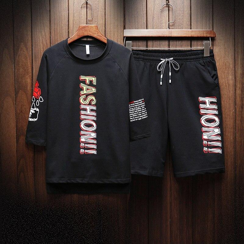 Summer Sets T-shirts+Shorts 2 Pieces Sets Men Sweat Suit Tracksuits Sets New Fashion Men Sportswear Casual Shorts Sets Size-4XL