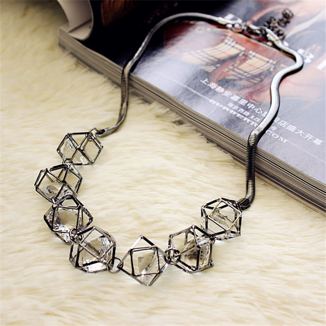 Geometric crystal statement necklace women collares 2018 new trendy jewelry wholesale gift kiind of new blue women s xl geometric printed sheer cropped blouse $49 016