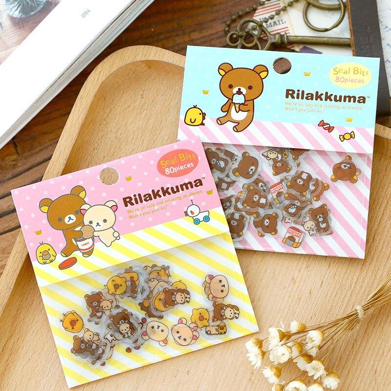 80 PCS Mini Transparent PVC Rilakkuma Stickers Cartoon Lovely Bear Sticker DIY Scrapbooking For Diary School Student Stationery