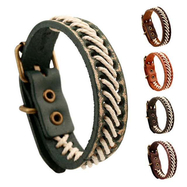1 Pc Wholesale Vintage Genuine Leather Jewelry Mens Wrap Bracelet