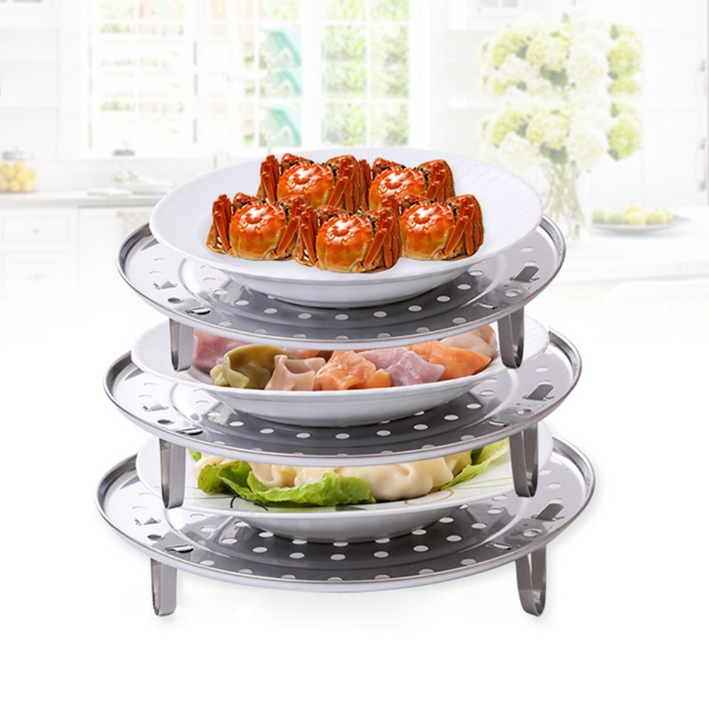 New Stainless Steel Steamer Kitchen Gadgets Steam Bread Seafood Fish Vegetable Cooker Stand Drain Rack Cake Cooling Tray