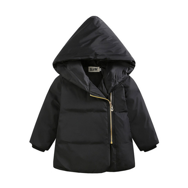 2016 new boys and girls solid color hooded down jacket