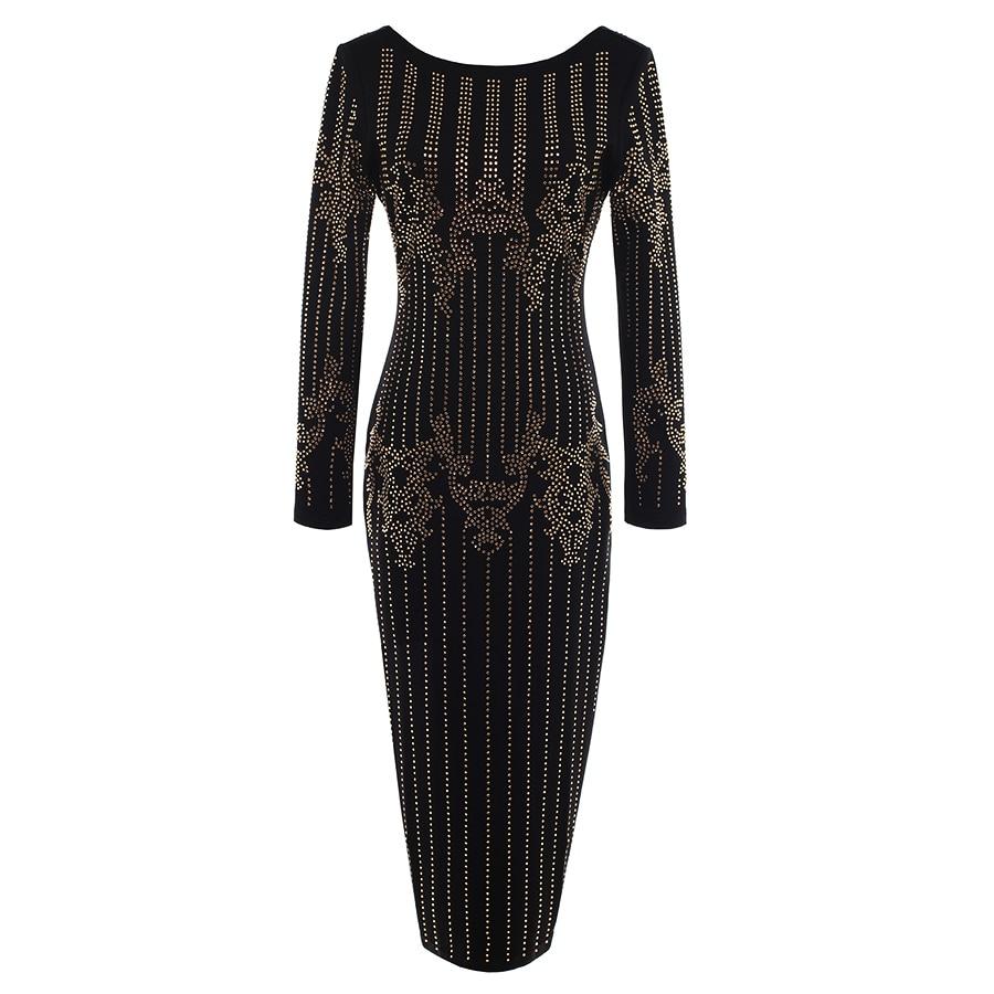 VYSOKÁ KVALITA Módní dráha 2019 BAROCCO Designer Dress Dámské dlouhý rukáv Luxusní diamanty Korálky Zpět V Zipper šaty