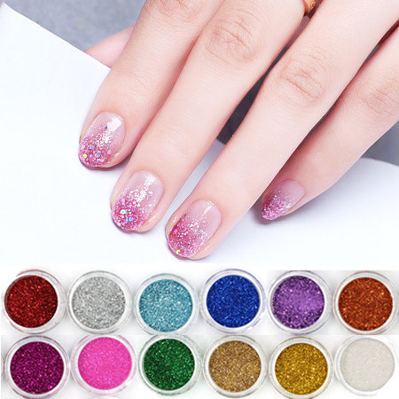 12 Colors Shiny Powder Nail Glitter For Nails Art Decoration