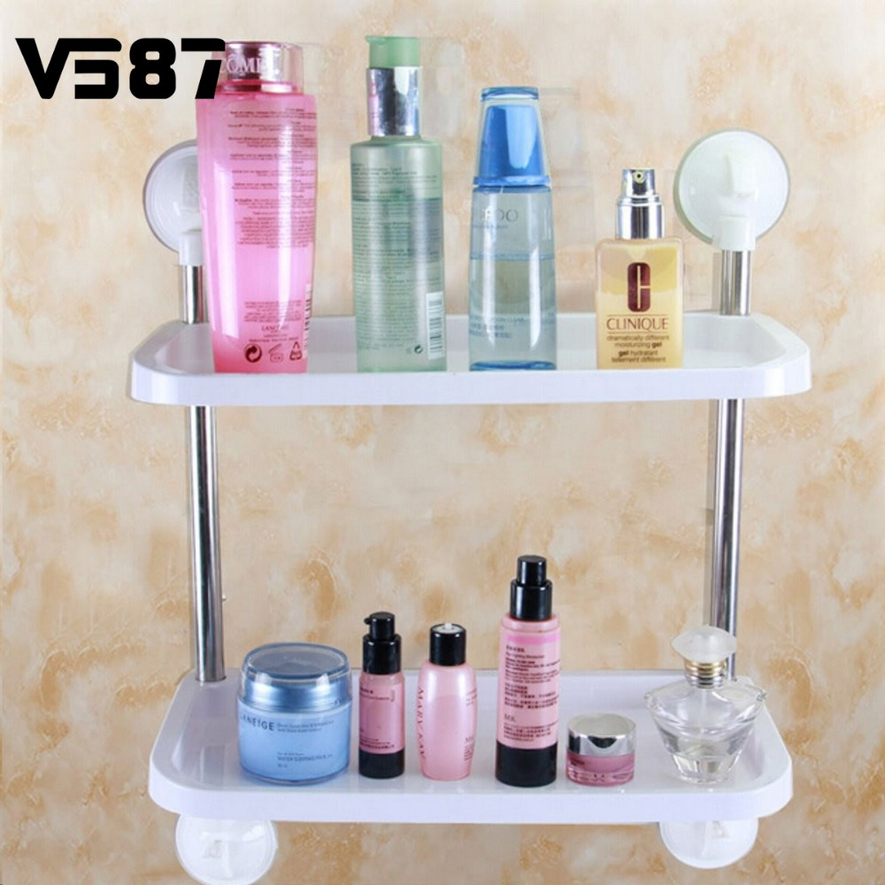 Plastic removable bath shelf wall mounted cosmetic holder storage - Wall Mounted Kitchen Caster Organiser Holder Bathroom Sundries Storage Rack Shelf With Plastic Tray Suction Cup