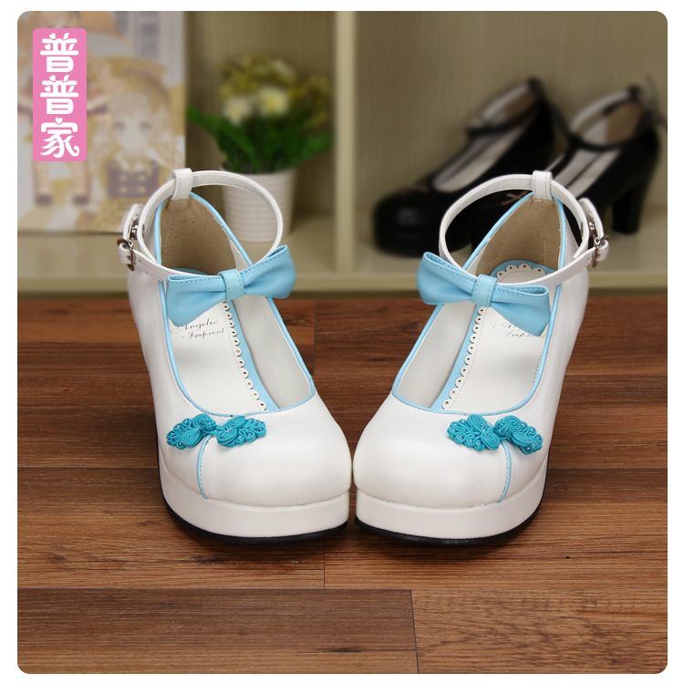 Princess sweet lolita shoes Small round shoes bow tie embroidered Chinese style Princess high heel hand-made shoes pu8522Princess sweet lolita shoes Small round shoes bow tie embroidered Chinese style Princess high heel hand-made shoes pu8522