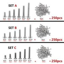1 Set 250pcs M3 304 Stainless Steel Hex Socket Screws Bolt With Hex Nuts Assortment 340pcs assorted stainless steel m3 screw 5 6 8 10 12 14 16 18 20mm with hex nuts bolt cap socket set