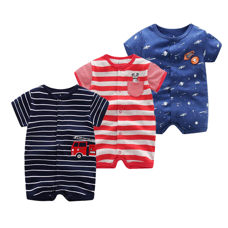 Summer baby boys rompers cotton Jumpsuit Short sleeve kids clothing Baby Boy Newborn rompers  0-24M baby clothes 2017 new boys clothing set camouflage 3 9t boy sports suits kids clothes suit cotton boys tracksuit teenage costume long sleeve