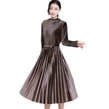 Весеннее Новое Женское бархатное платье с длинным рукавом 2018