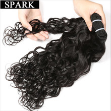 "Spark Hair Brazilian Water Wave Can Buy 3 or 4Pcs Human Hair Weave Bundles Natural Color 8""-26 Remy Hair Extensions No Shedding(China)"