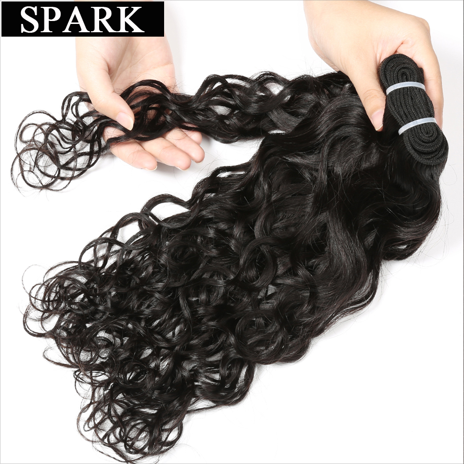 Spark Hair Brazilian Water Wave Can Buy 3 or 4Pcs Human Hair Weave Bundles Natural Color 8-26 Remy Hair Extensions No Shedding