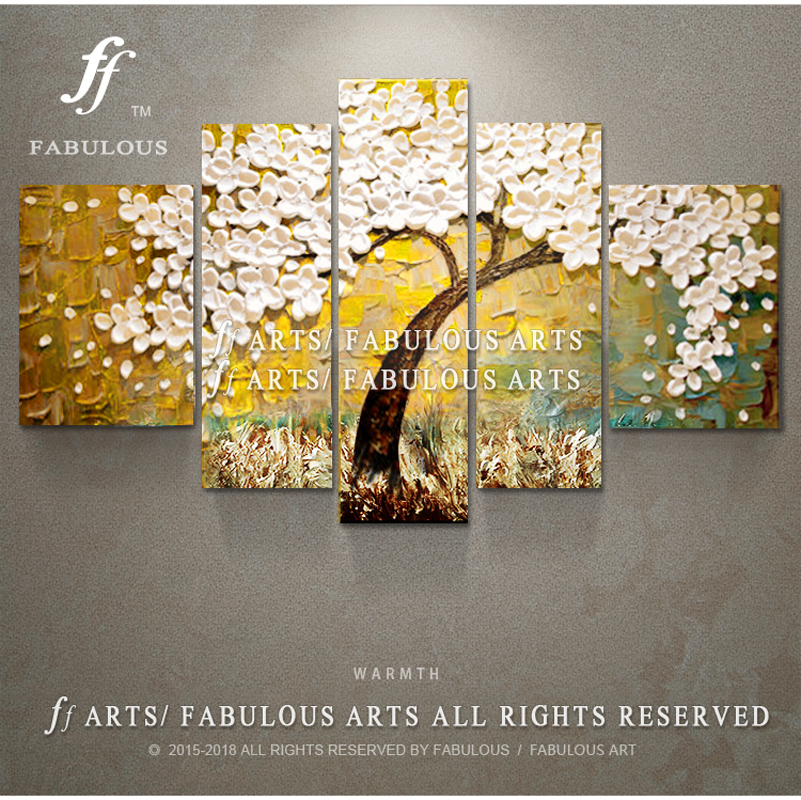 Fabulous arts Hand painted High Quality Golden Wish Tree Oil Painting On Canvas White Petal font