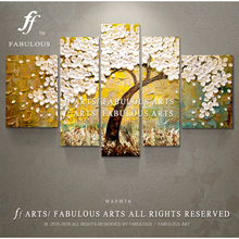 Fabulous arts Hand-painted High Quality Golden Wish Tree Oil Painting On Canvas White Petal Knife Oil Painting For Living Room