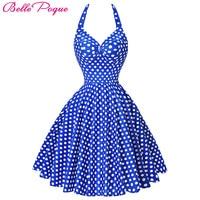 Summer Style Audrey Hepburn Womens Retro Vintage 50s 60s Dresses Big Swing Polka Dot Vestidos Backless