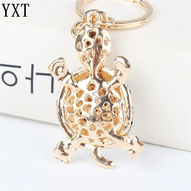 Green Tortoise Turtle Pendant Charm Rhinestone Crystal Purse Bag Keyring Key Chain Accessories Wedding Friend Lover Gift