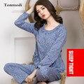 Пижамы Для Женщин Осень Длинными Рукавами Пижамы Среднего Возраста Матери Печатных Кардиган Пижамы женская Сна Lounge Pajama Наборы 3XL