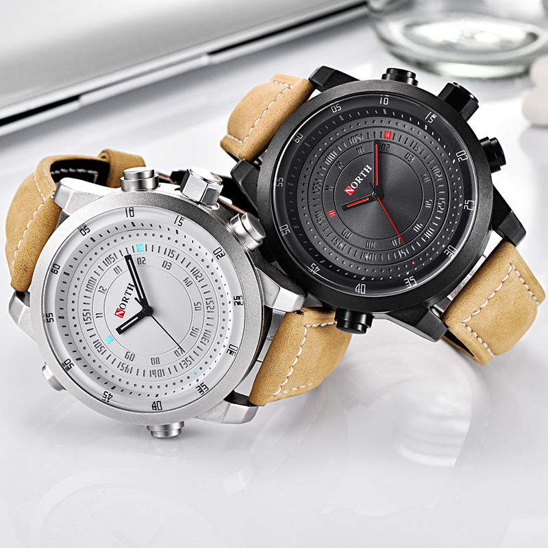 2018NORTH Waterproof Wrist Watch Digital Quartz Watch Men Luxury Brand Military Sport Men Watch Leather Clock Relogio Masculino smael lady watch for woman sport waterproof watch top brand luxury men digital wrist watch 1632 children nurse valentine watch