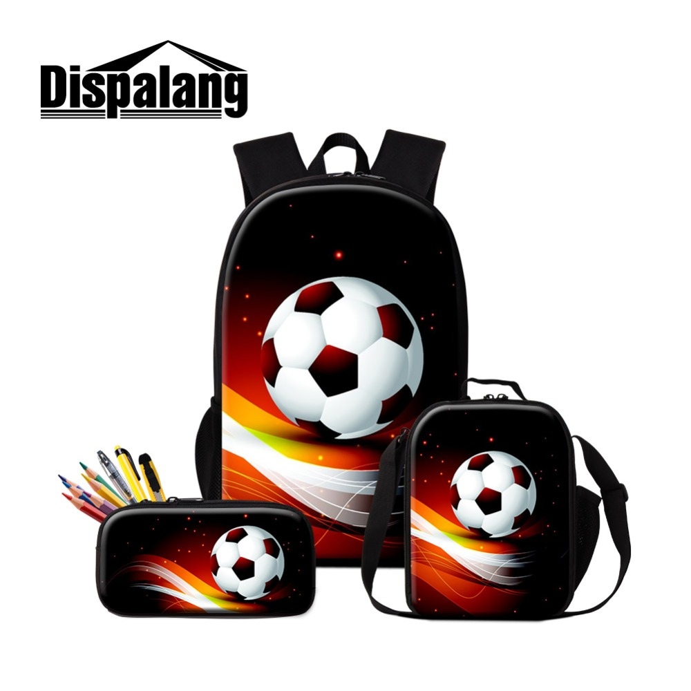 Dispalang Dropshipping Soccerl Backpack and Cooler Lunch Sack Bag for Boy Foot Ball Printed School Bag for Children Pencil Case