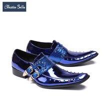 Christia Bella Luxury Patent Leather Men Oxford Shoes Square Toe Multicolor Rivets Men Dress Shoes Wedding Formal Brogue Shoes