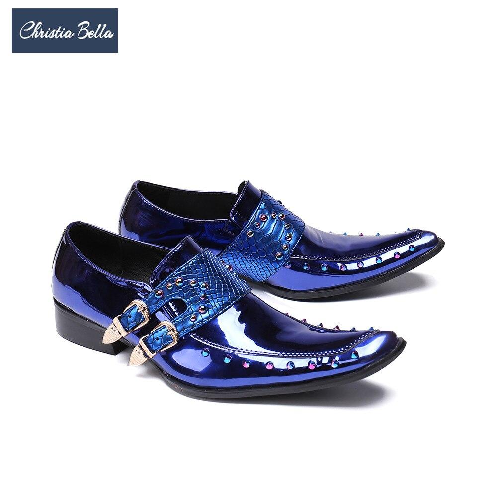 Christia Bella luxe en cuir verni hommes Oxford chaussures bout carré multicolore Rivets hommes robe chaussures de mariage formelle richelieu chaussures
