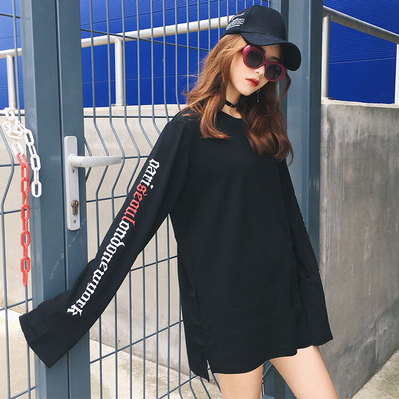 Girls Loose Extra Long Sleeves Letter Print T-shirt Plus Size Harajuku Fashion Kpop Clothes Oversize Women Party Casual Tees Top