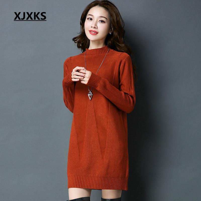 XJXKS Autumn 2018 Winter Clothes Women Sweater Dress Feminino Loose Long Sleeve Jumper Knitting Quick Shipment