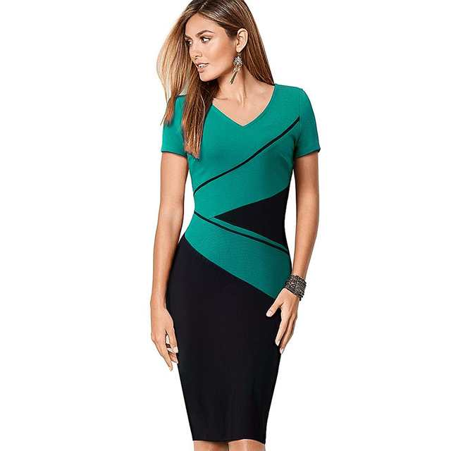 US $15.11 37% OFF|Womens Elegant Optical Illusion Patchwork Contrast Slim  Casual Work Office Party Bodycon Plus Size Business Dress EB384-in Dresses  ...