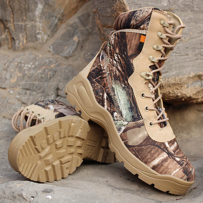 Bionic Camouflage Hunting Shoes Men Hiking Boots Water-resistant Non-slip Military Ankle-high Shoes Climbing Hunting Sneakers big size 46 men s winter sneakers plush ankle boots outdoor high top cotton boots hiking shoes men non slip work mountain shoes