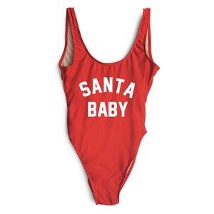 SANTA BABY One Piece Swimsuit Swimwear Women Thong Bathing Suit Swim Wear Christmas Party Sexy Bodysuit monokini trikini badpak(China)