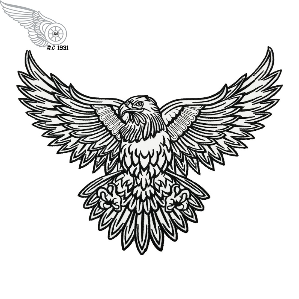 Us 145 Embroidery Eagle Tattoo Full Back Size Funk Patch Iron On Motorcycle Patches For Jacket Clothing In Patches From Home Garden On Aliexpress