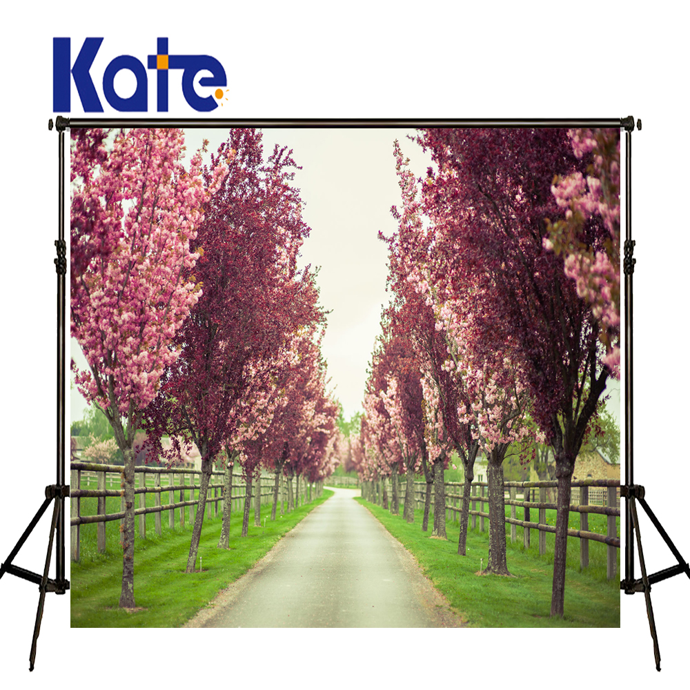 KATE 10ft Photography Backdrops Spring Scenery Background Pink Garden Backdrop Country Road Backdrops for Kids Photo Studio