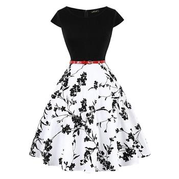MISSJOY Plus size 4XL Dress kleding vrouwen Vintage Elegant Cap Sleeve Lemon Flower Print pin up fashionable dresses kerst jurk 6
