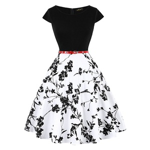 Image 5 - MISSJOY 4XL Большой летнее платье размер платье винтажное элегантное платье с коротким рукавом лимонный цветочный принт модные платья мода 2019 ретро платье хлопок женские платья women dress