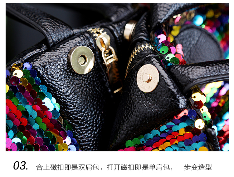 backpack women Fashion Women Bling Shiny Sequins Sparkling Shoulder Bags Larger Capacity Drawstring Bag backpack 94