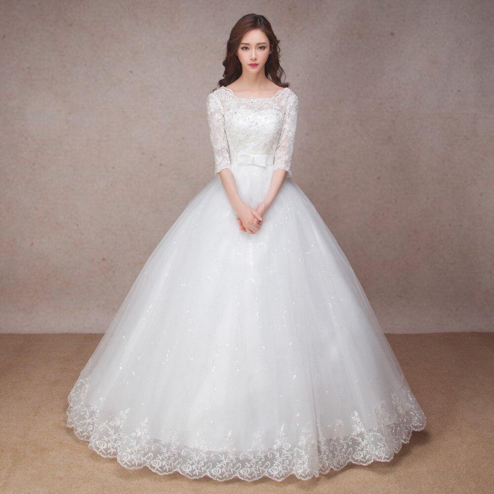 Longue demi manches robe de mariée en dentelle musulmane de haute qualité 2019 mariée simple robe de mariée photo réelle robe de mariée vestido de noiva - 2