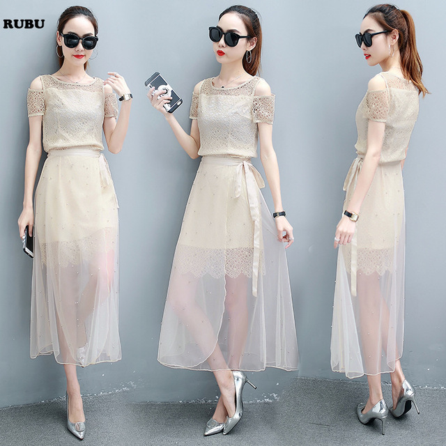 06a4a85027a3 2 Piece Set Women s Suit female tide Lace Chiffon Korean temperament thin  gauze two-piece suit top and dress skirt