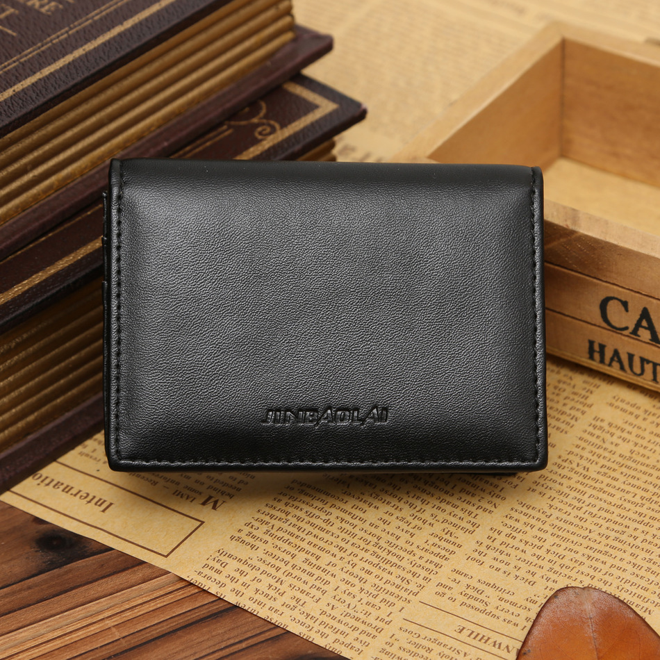 New Arrival Quality Men Business Card Wallets Fashion Patent Leather Black Brown Color 2 Fold Credit Card Holder Lower Price image
