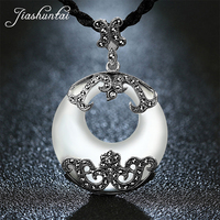 JIASHUNTAI Retro 100% 925 Silver Sterling Big Round Pendant Necklace Round White Opal Gemstone With Silver Jewelry For Women