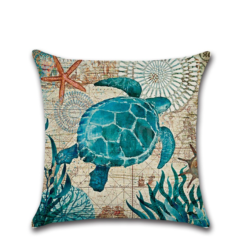 Image 3 - CAMMITEVER Cotton Linen Pillow Cover Seaworld Octopus Sea Turtle Hippocampus Cushion Cover Home Decorative Pillow Case Blue-in Cushion Cover from Home & Garden