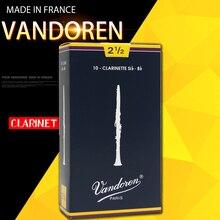 Original ฝรั่งเศส Vandoren แบบดั้งเดิม Bb Clarinet กล่องสีฟ้า Reeds/Reed สำหรับ Clarinet Strength 2.0 #2.5 #3.0 #3.5 # กล่อง 10