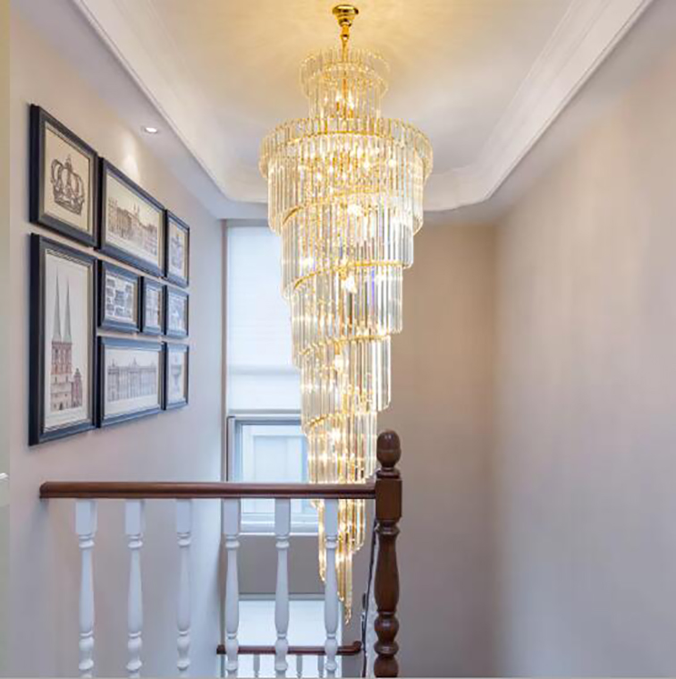 LED Modern Luxury Villa Hotel Large Engineering Crystal Chandelier Ceiling Light Gold Europe Style Foyer Lamps Living Room in Chandeliers from Lights Lighting